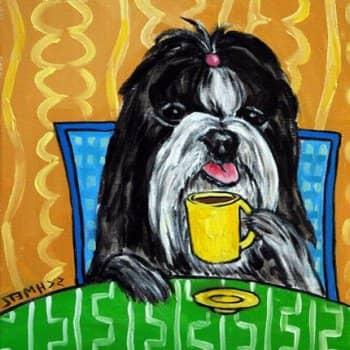 собака пьет кофе